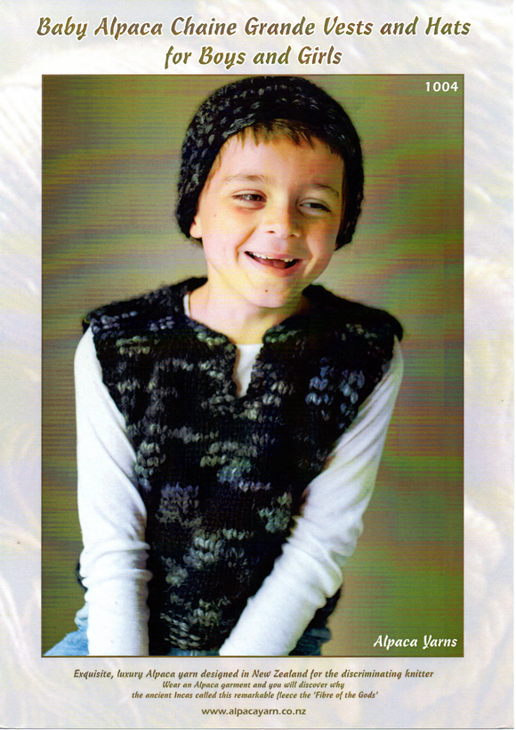 Baby Alpaca Chaine Grane Vests and Hats for Boys and Girls #1004 by Alpaca Yarns