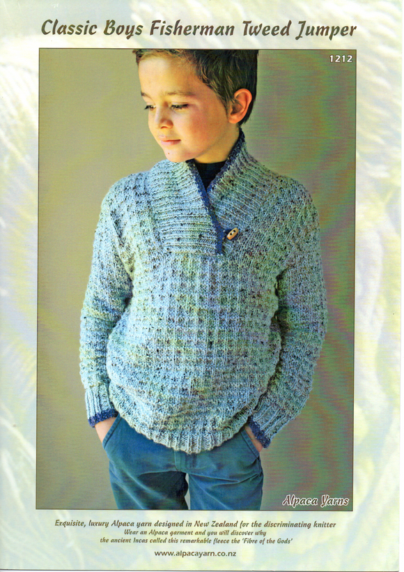 Classic Boys Fisherman Tweed Jumer #1212 by Alpaca Yarns