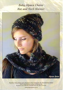Baby Alpaca Chaine Hat and Neck Warmer #1010 by Alpaca Yarns