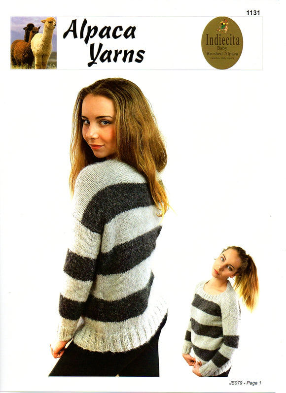 Striped or Solid Cosy Sweater #1131 by Alpaca Yarns