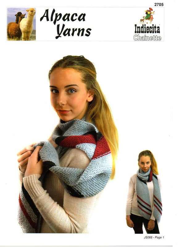 Striped Angular Scarf #2705 by Alpaca Yarns