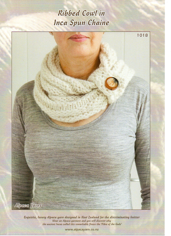 Ribbed Cowl #1018 by Alpaca Yarns