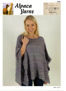 Lace Poncho #2429 by Alpaca Yarns