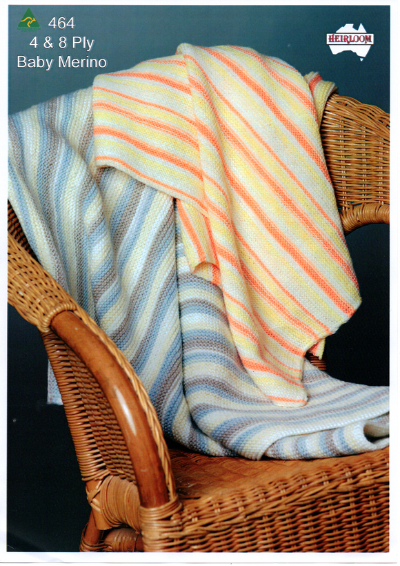 Striped Garter Stitch baby Blanket #464 by Heirloom