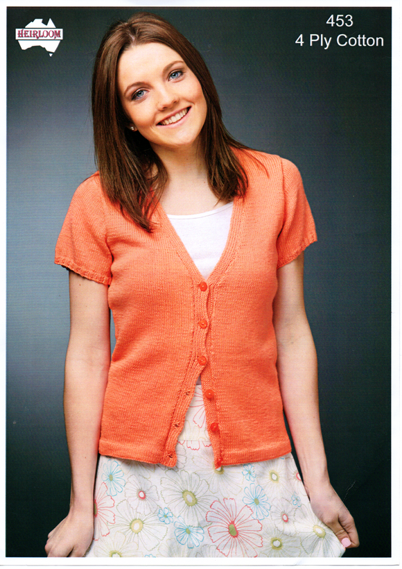 Ladies Short Sleeved Cardigan #453 by Heirloom