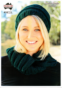Chunky Hat & Cowl #416 by Heirloom
