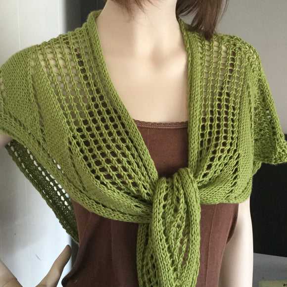 Hand knit lacy shawl in Merino/Silk/Cashmere