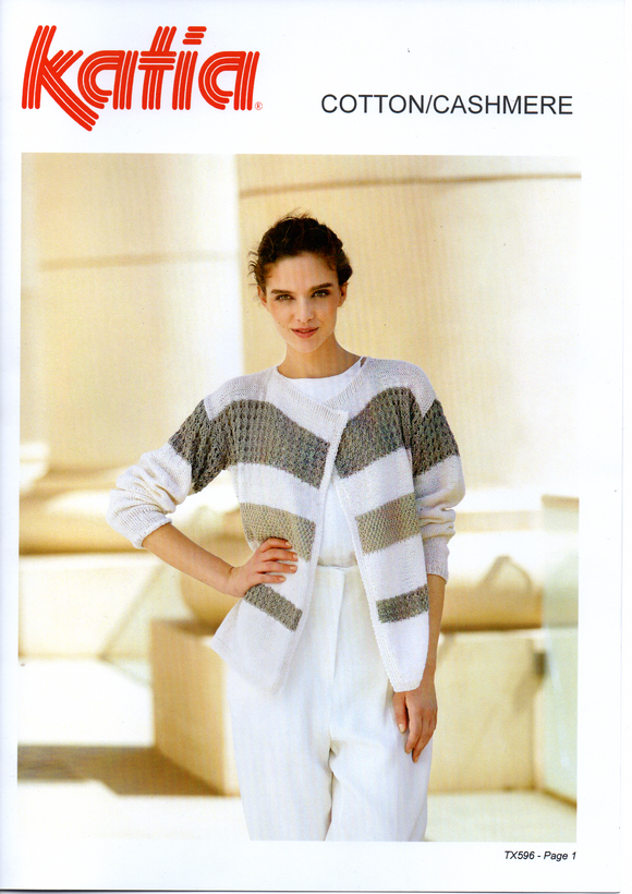 Striped and textured cardigan #TX596 By Katia