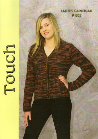 Ladies Cardigan Pattern #007 By Touch Yarns
