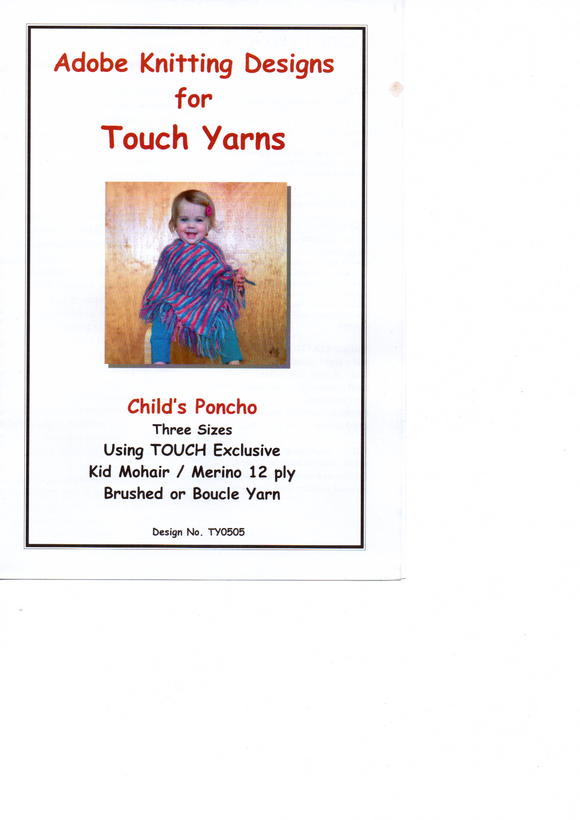 Childs Poncho #TY0505 By Touch Yarns