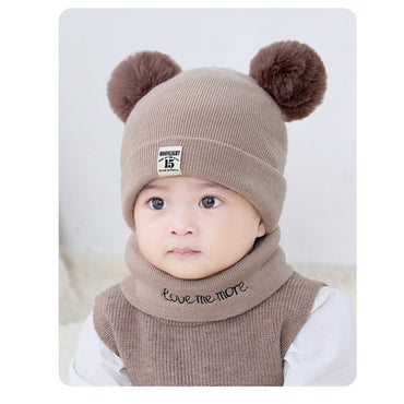 Baby Kids Solid Color Stripe Hat And Scarf Winter Warm Suit Set