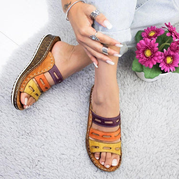 sandals female wedge with thick-bottom color matching casual Roman ladies slippers