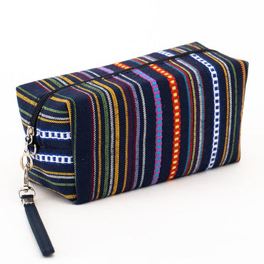 Women Cosmetic Case Cotton Striped Retro Makeup Bag Beauty Organizer Travel Pouch Toiletry Wash Bag
