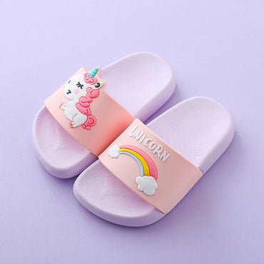 Unicorn Slippers For Boy Girl Cartoon Rainbow Shoes Summer Toddler Flip Flops Baby Indoor Slippers Beach Swimming Slipper