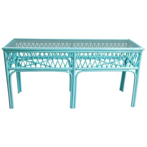 Vintage Light Turquoise Rattan Console