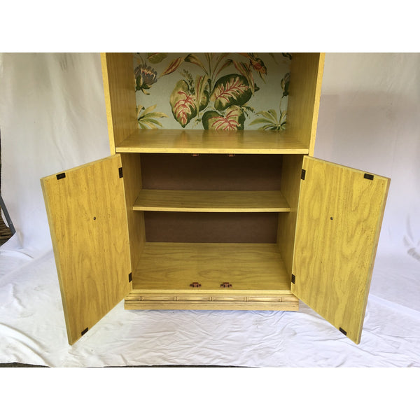 1970s Chinoiserie Faux Bamboo Etagere Entertainment Cabinets - a Pair