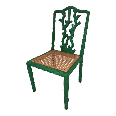 20th Century Boho Chic Green Caned Tree Accent Chair