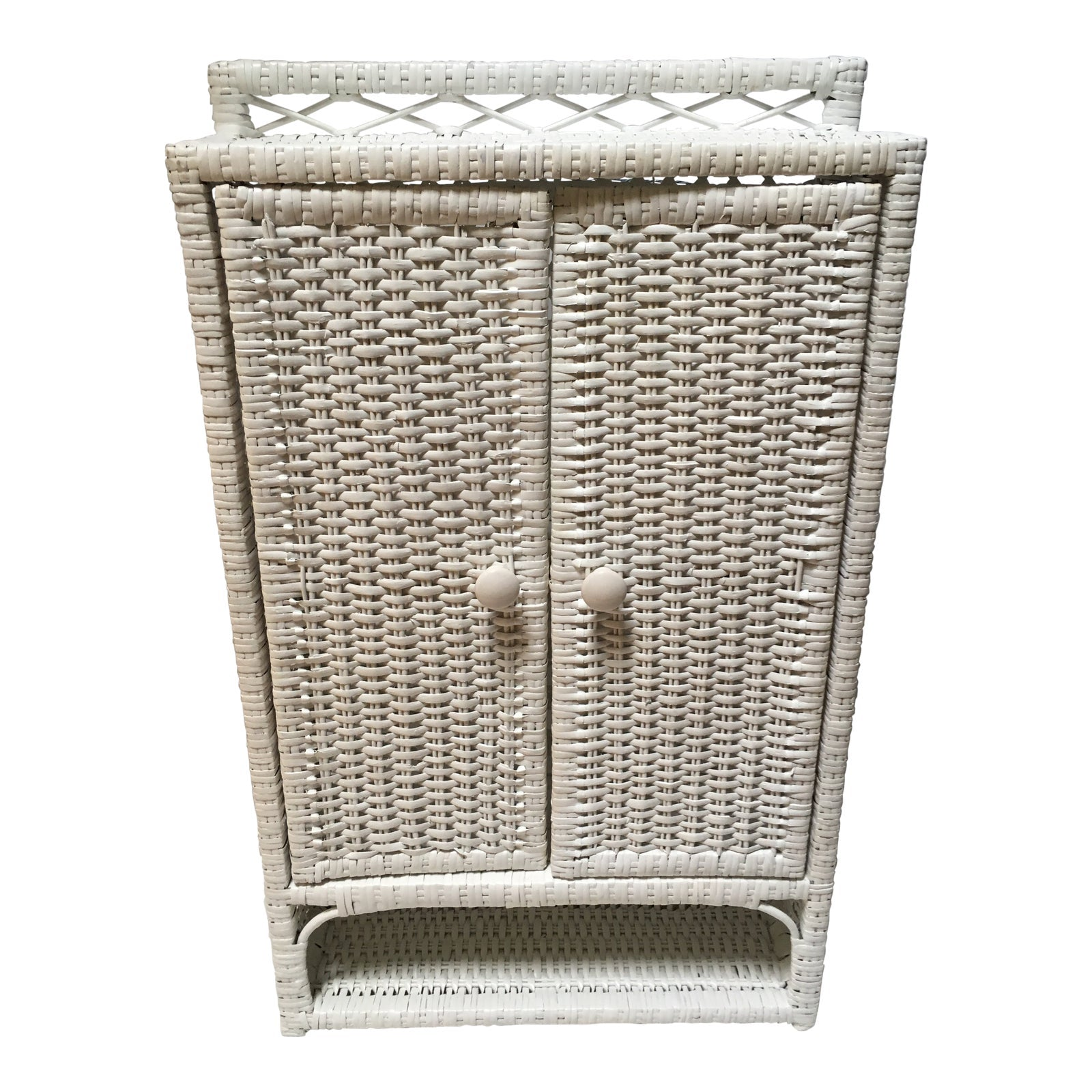 20th Century Boho Chic Wicker and Cane Medicine Cabinet