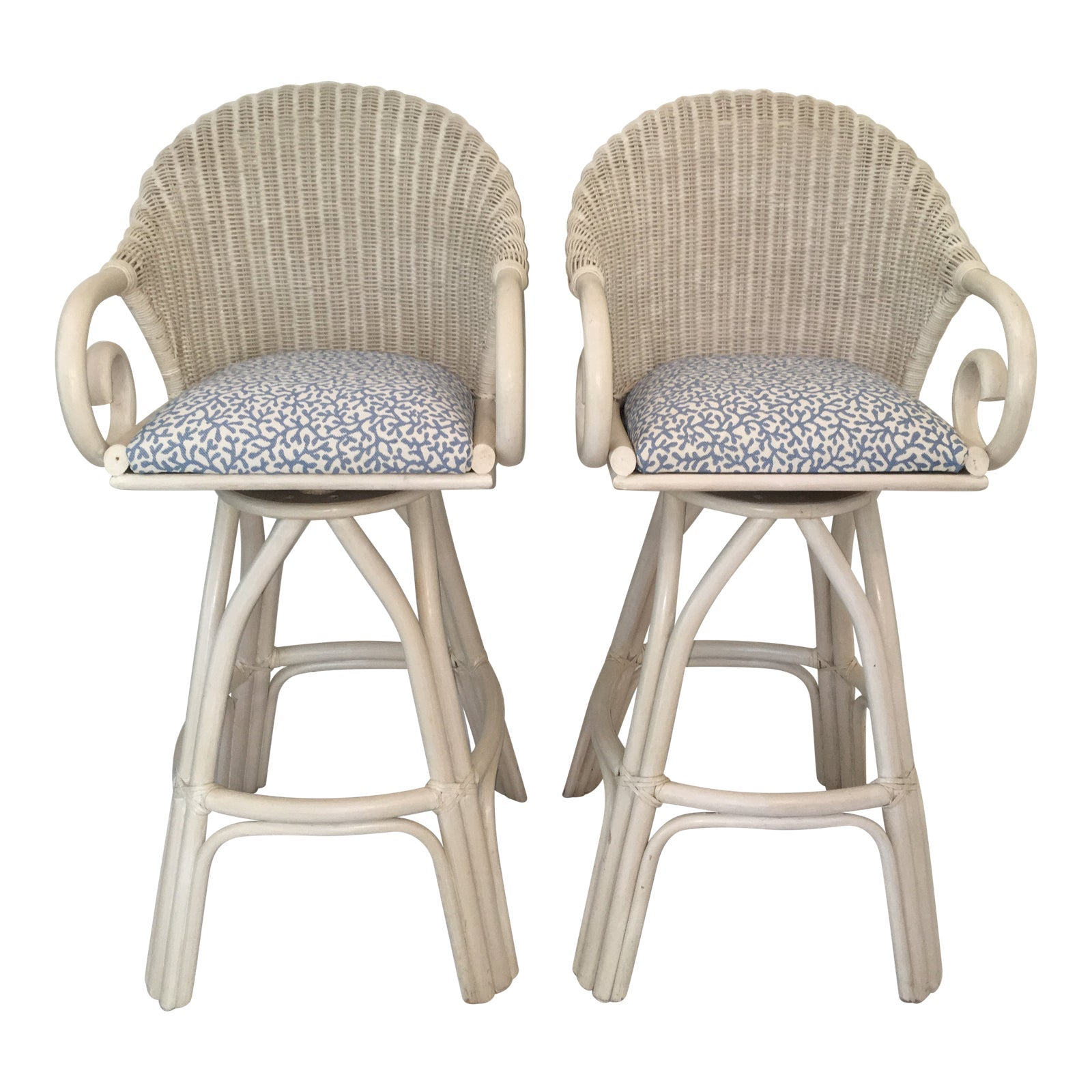 20th Century Shabby Chic White Wicker Bar Stools - a Pair