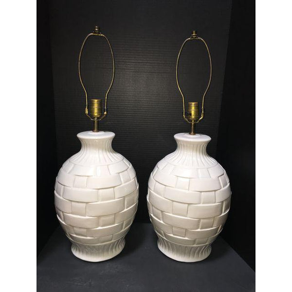 Vintage White Ceramic Lattice Lamps - a Pair