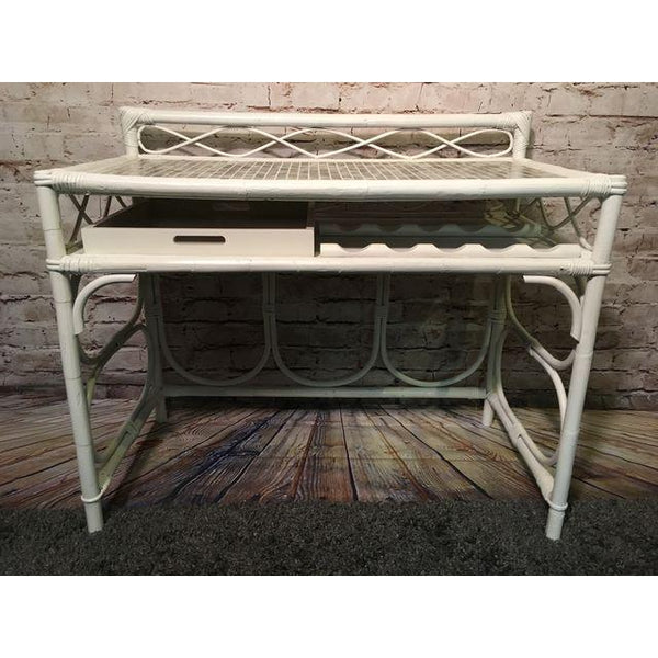 Vintage White Rattan Glass Tile Top Dry Bar