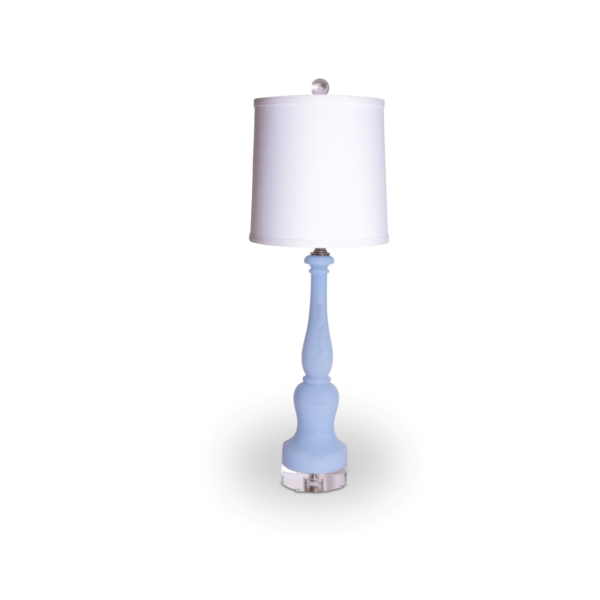 blue custard glass table lamp