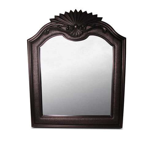 bronzed espresso wicker and wood mirror
