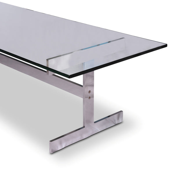 chrome and glass i-bar cocktail table