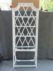Vintage White Rattan and Glass Shelving Unit