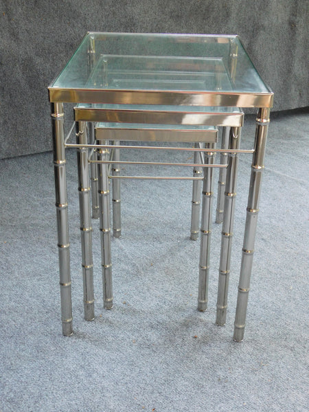 Vintage set of 3 Faux Bamboo Chrome Nesting Tables