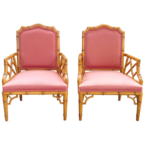 Vintage Chinese Chippendale Faux Bamboo Armchairs, pair