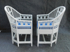 Vintage White and Blue Rattan Chinese Chippendale Chairs, pair