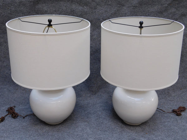Vintage White Ginger Jar / Potbelly Lamps - A Pair