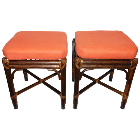 McGuire Rattan benches, pair