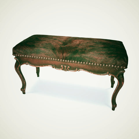 Distressed Cowhide Bench