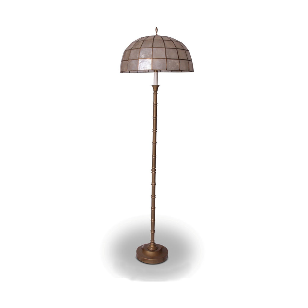 Faux Bamboo Brass with Capiz Shell Shade Floor Lamp