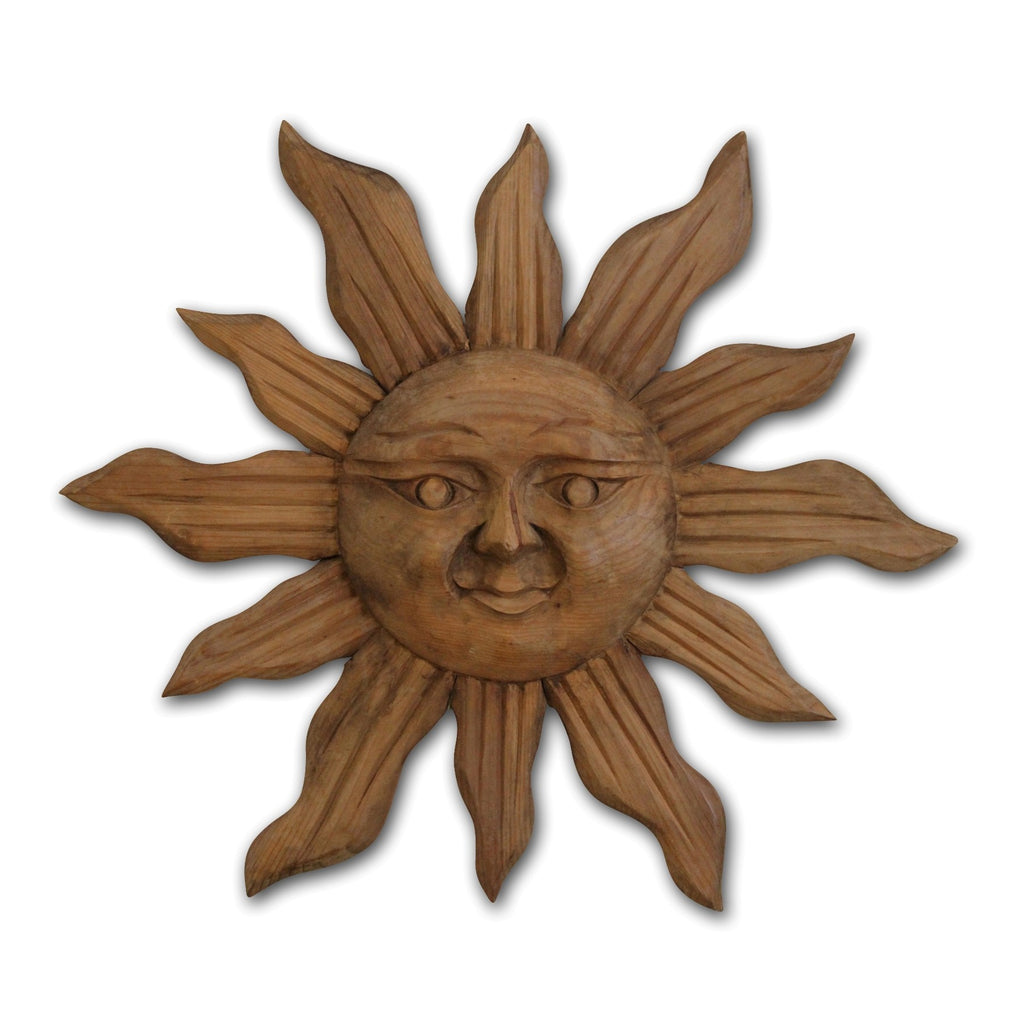Handcarved Wood Sun Wall Art