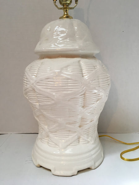 Vintage Ceramic Basketweave Ginger Jar Lamp