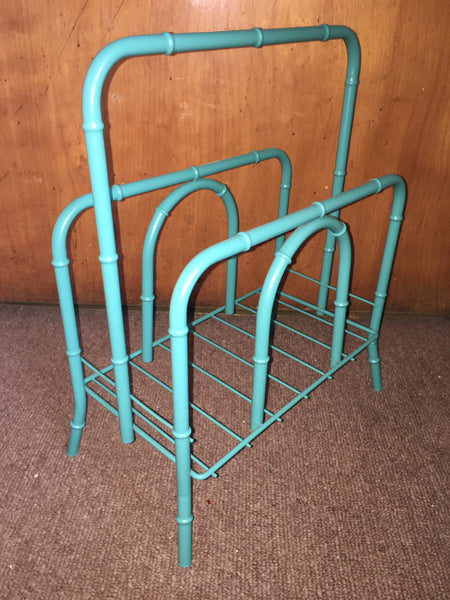 Vintage Faux Bamboo Turquoise Metal Magazine Rack