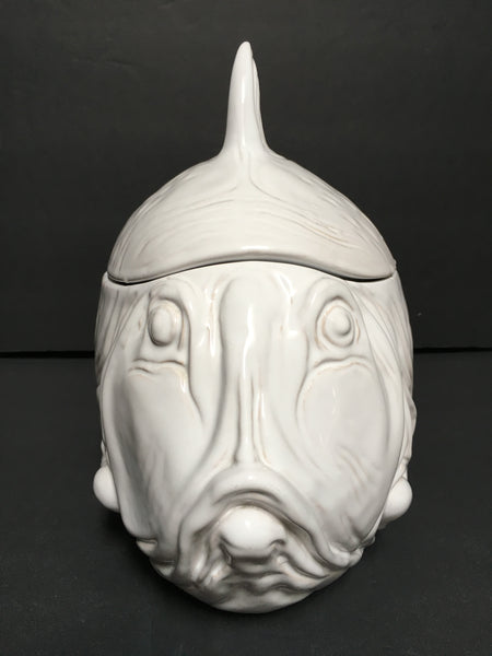 Large White Fish Cookie Jar