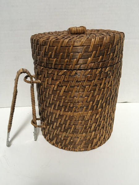 Vintage Mini Wicker Ice Bucket With Tongs