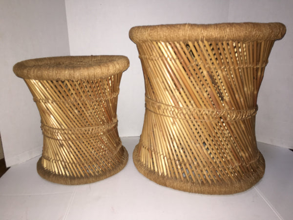 Woven Rush and Reed Stools - A Pair