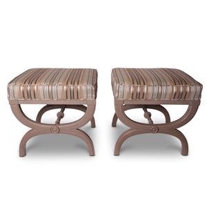 Pair of Hollywood Regency X-Benches/Tabourets