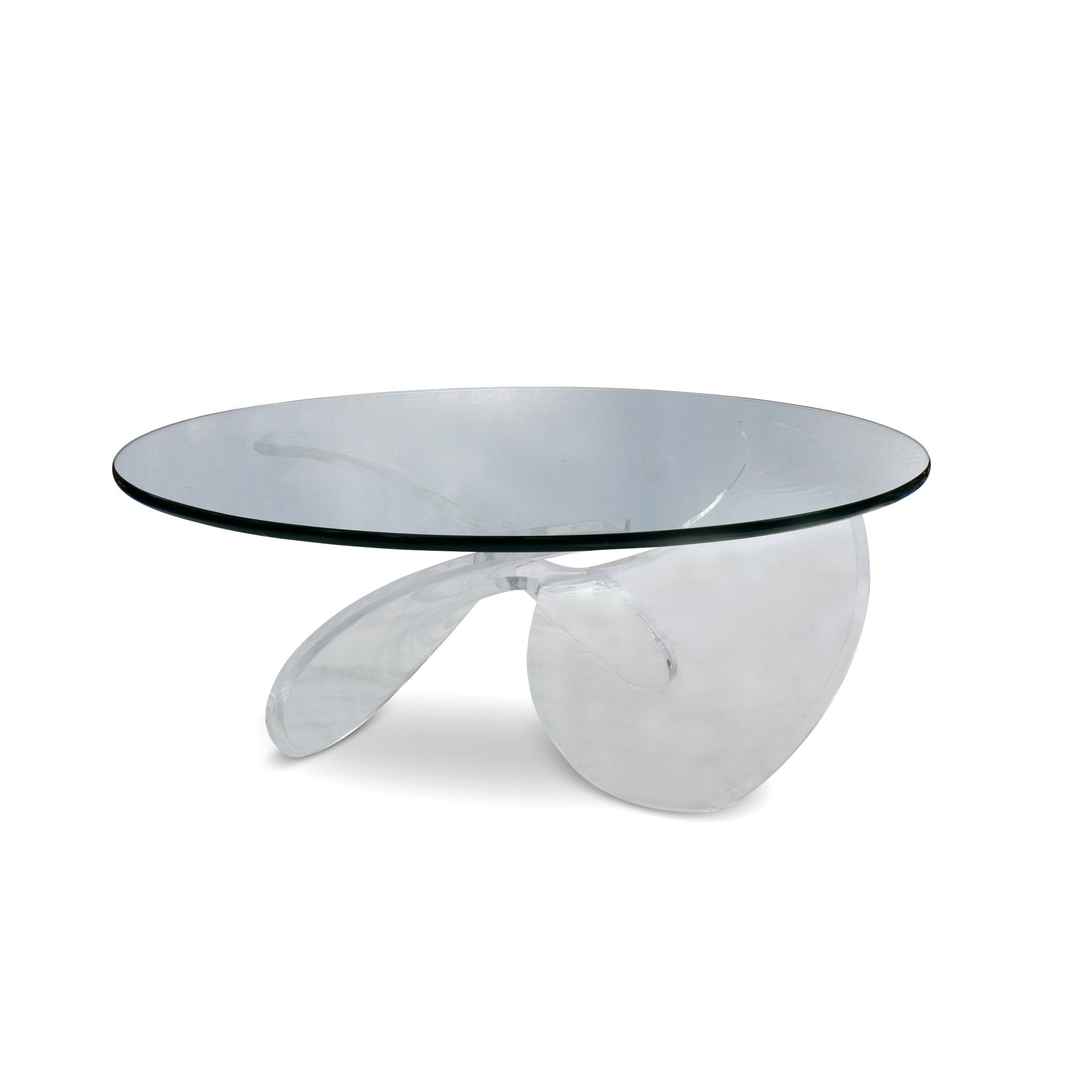 Lucite Propeller Base Cocktail Table with Glass Top