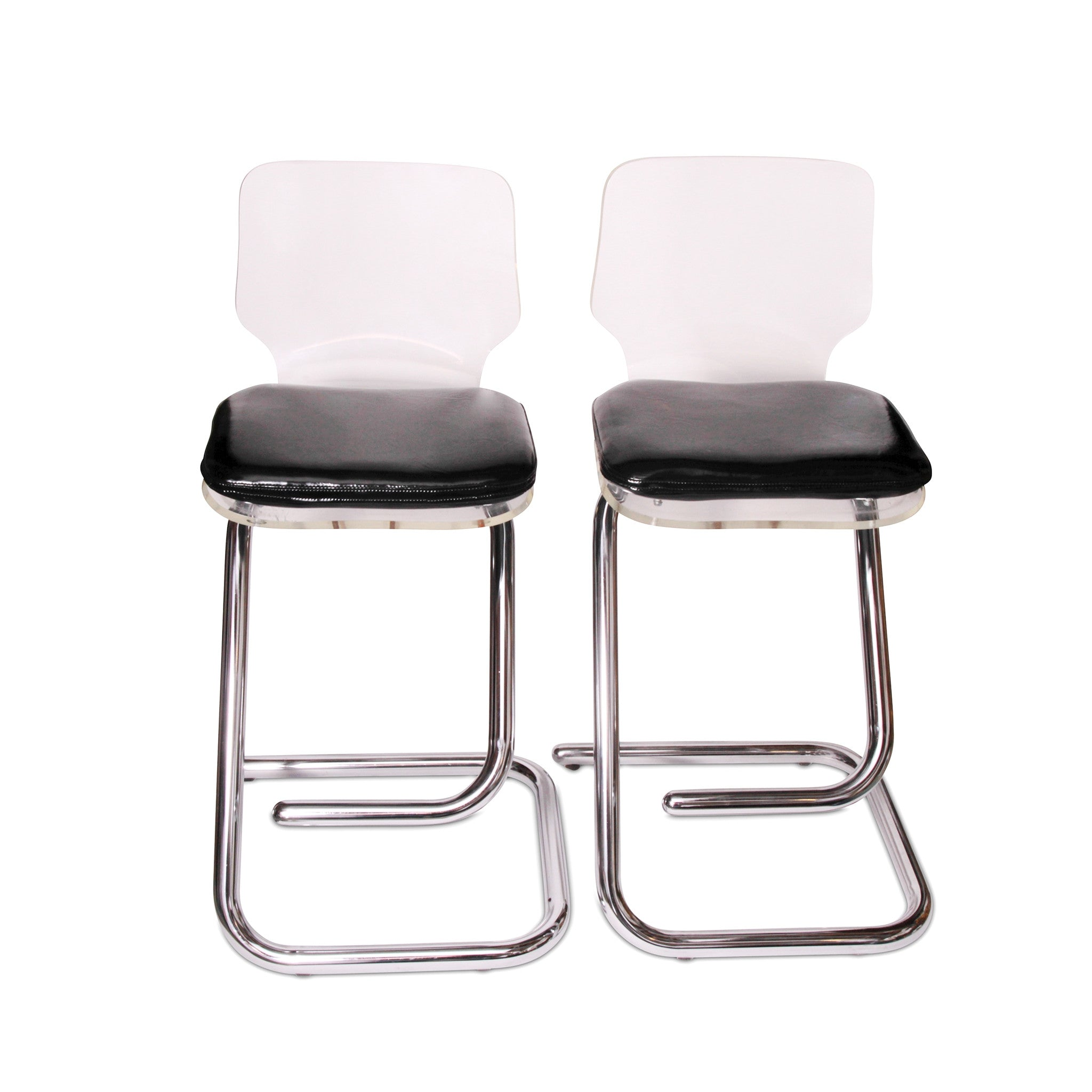 Lucite and Chrome Bar Stools