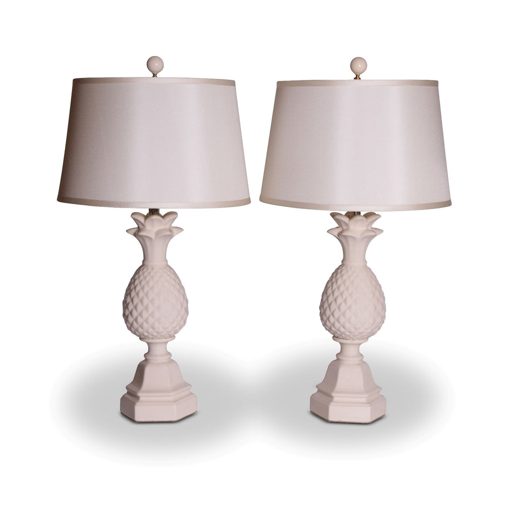Pair of Bone White Ceramic Pineapple Lamps
