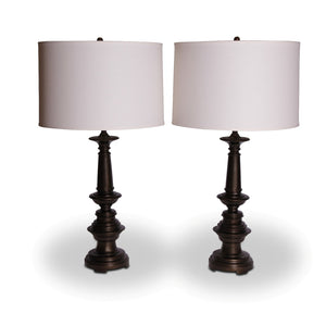 Pair Bronzed Steel Lamps