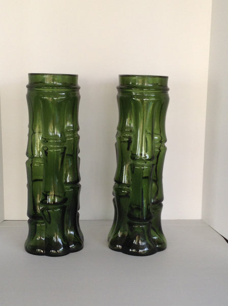 vintage faux bamboo green glass vases a pair