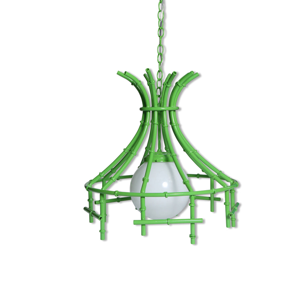 faux bamboo chandelier in lime