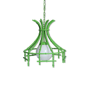 faux bamboo vintage chandelier in lime